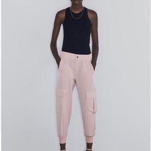Zara pink satin joggers